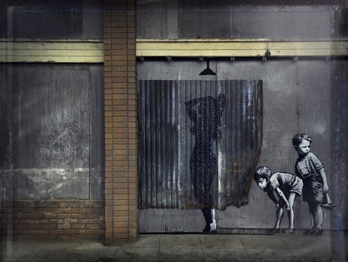 Banksy's Shower Curtain. © Barry Cawston.