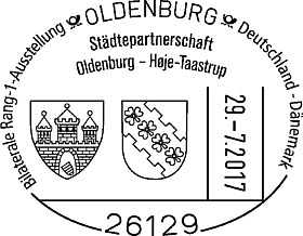 Städtepartnerschaft Poststempel. Quelle: Briefmarkenfreunde Oldenburg e.V.